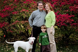Carl, Mack and Leah McCullough with our dog Annie Fibromyalgia 3D Fibromyalgia Healing TeleClass leahsfamily